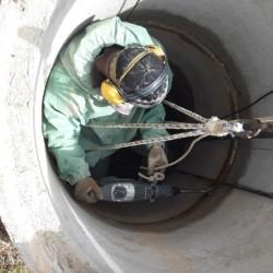 Штробление шва бетонных колец