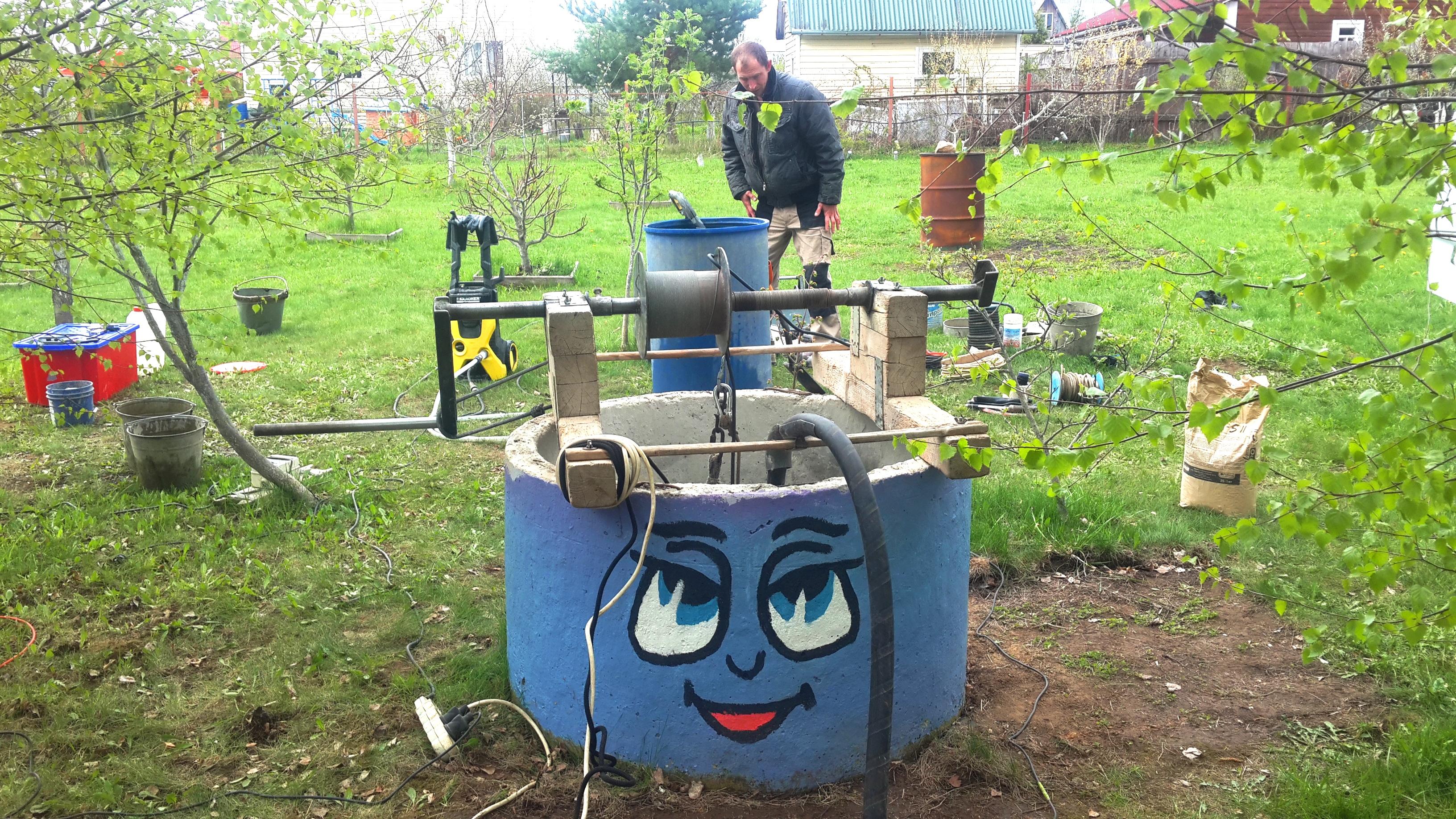 Чистка и ремонт колодца в Павельцево