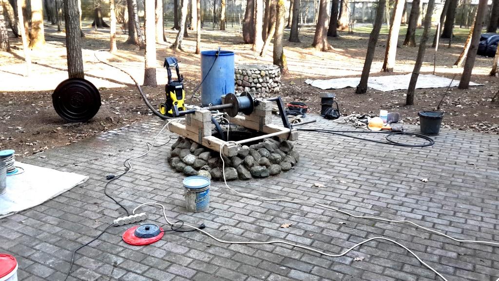 Чистка бетонного колодца в Каширском районе