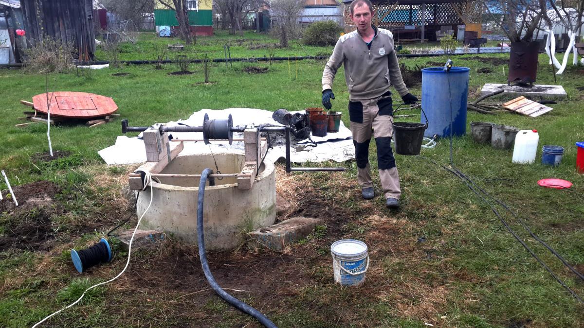 Чистка и ремонт колодца в Жилино